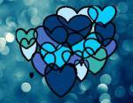 corazones azules muchos